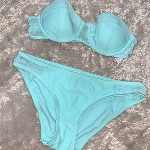 ✅Baby Blue Strapless Bathing Suit